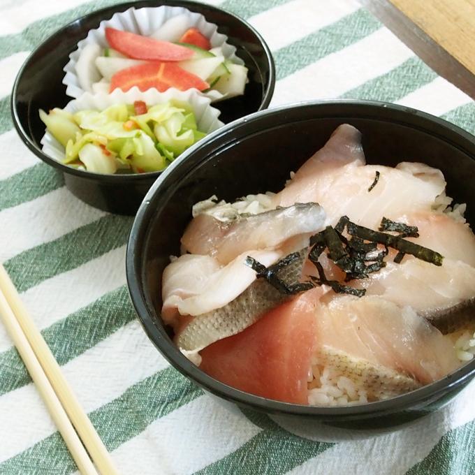 白身魚、海鮮丼